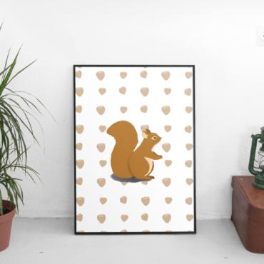 Ecureuil, dans la forêt il y a... illsutration animaux de la forêt - Anaïs Clavel, designer graphique